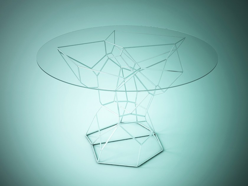 Round glass and steel table DIATOM © by ggloop