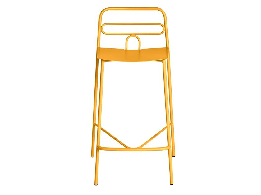 Metal stool with back with footrest DIDA | Stool by CaStil
