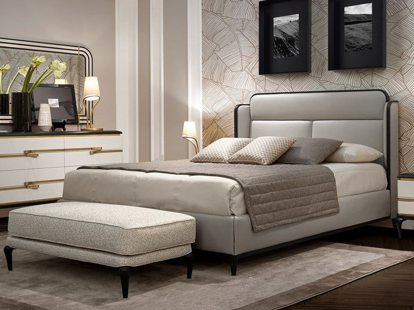 Leather double bed with upholstered headboard DILAN | Double bed by A.R. Arredamenti