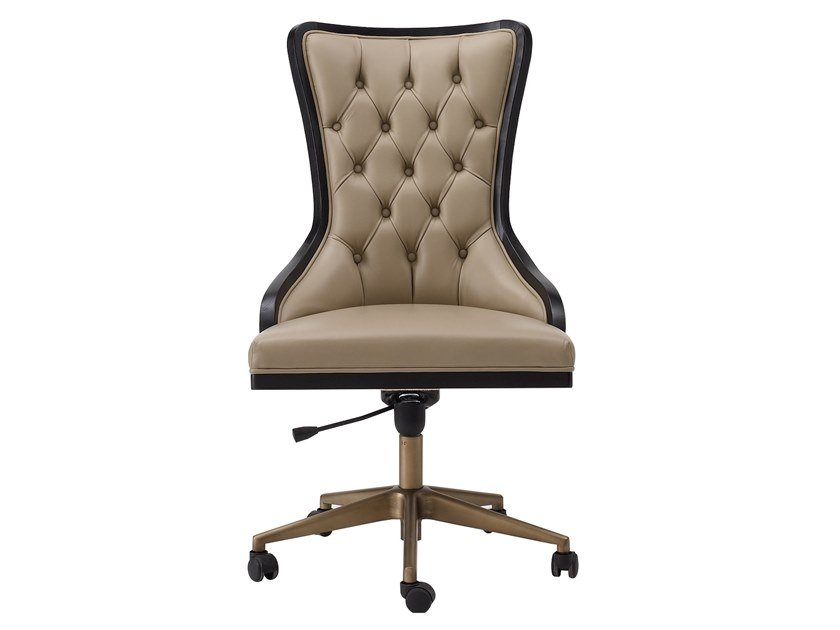 Tufted leather chair with castors DILAN | Chair with castors by A.R. Arredamenti