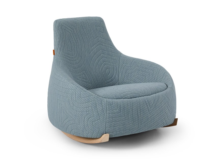 Rocking fabric armchair DIM SUM LOW by Montis
