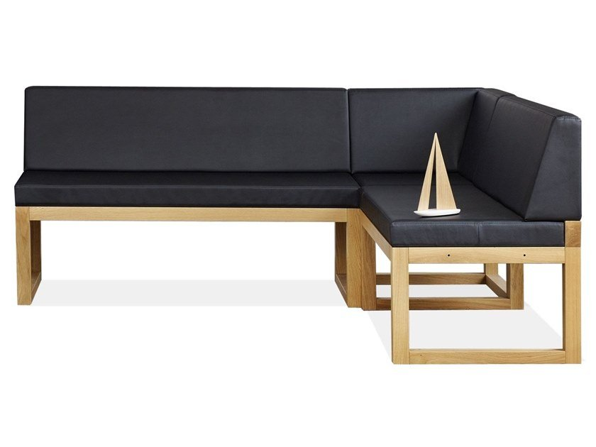 Upholstered modular leather bench with back DINER by TON
