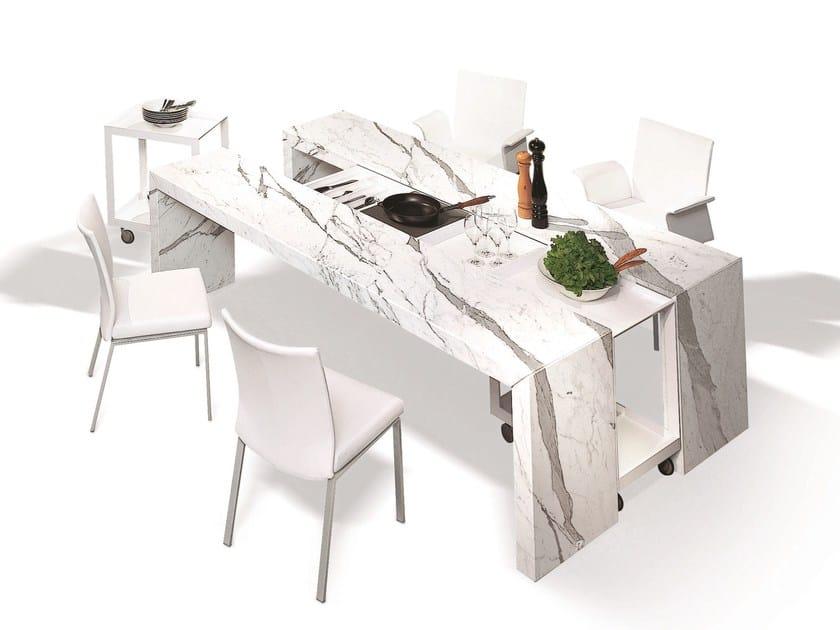 Extending rectangular stone table DINING DESK | Extending table by Draenert