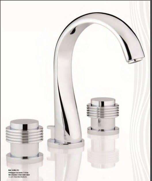 Miscelatore per lavabo a 3 fori in acciaio in stile classico con aeratore con finitura lucida DIPLOMATE | Miscelatore per lavabo by INTERCONTACT