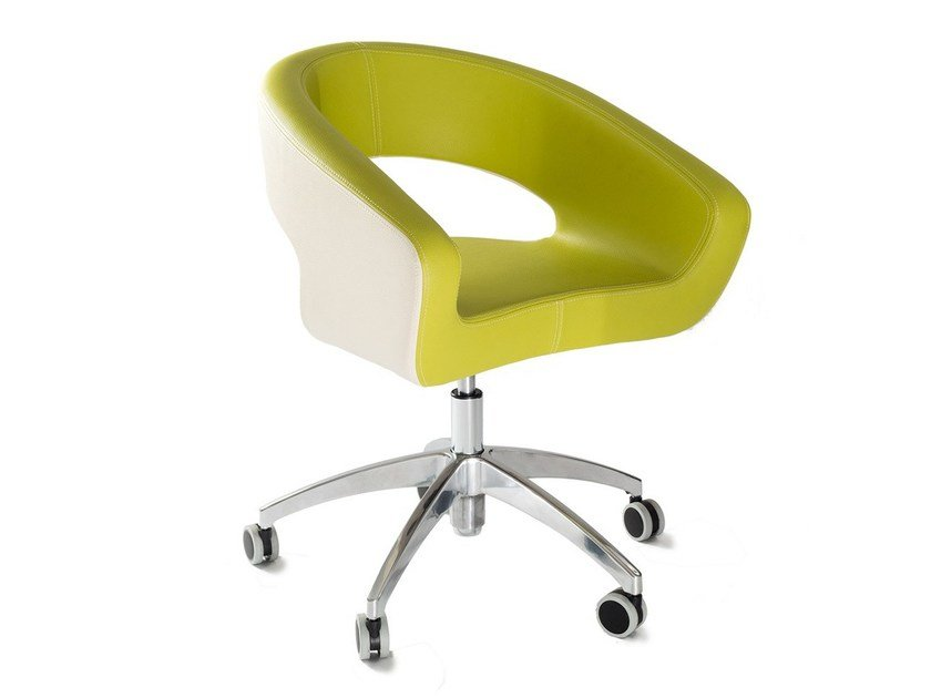 Upholstered imitation leather easy chair with casters DIVA FIVE by Vela Arredamenti