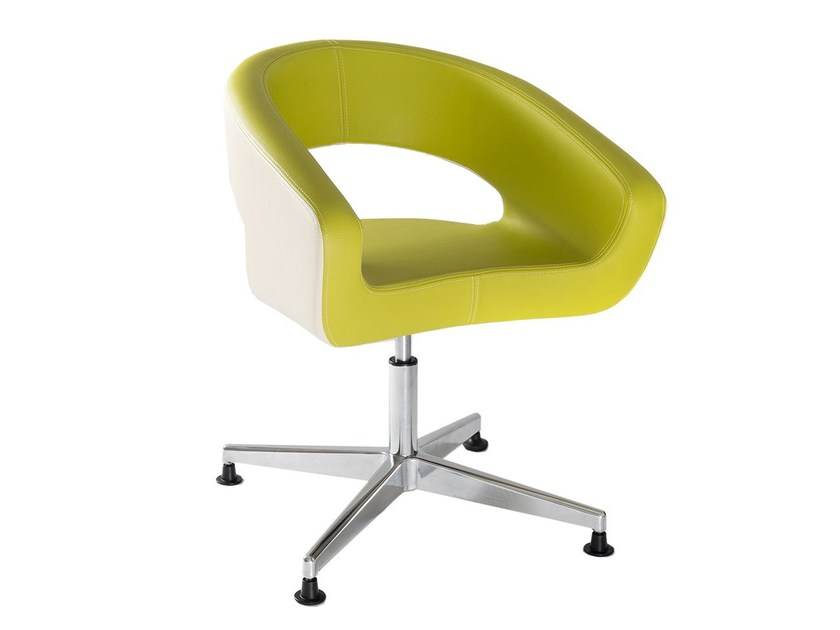 Swivel imitation leather easy chair with 4-spoke base DIVA FOUR by Vela Arredamenti