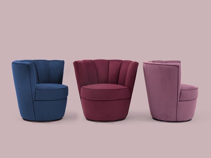 Swivel velvet easy chair DIVA | Swivel easy chair by Borzalino
