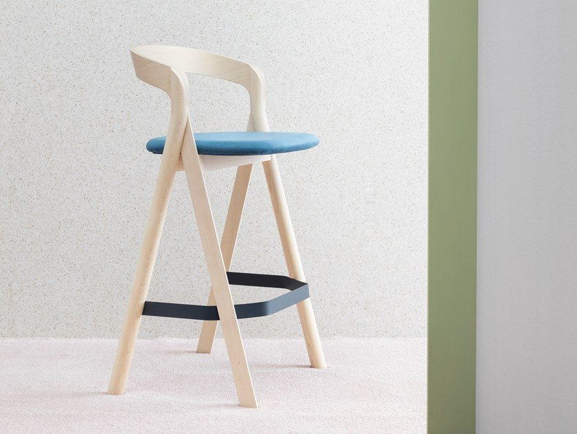High wooden stool with footrest DIVERGE | Stool by Miniforms