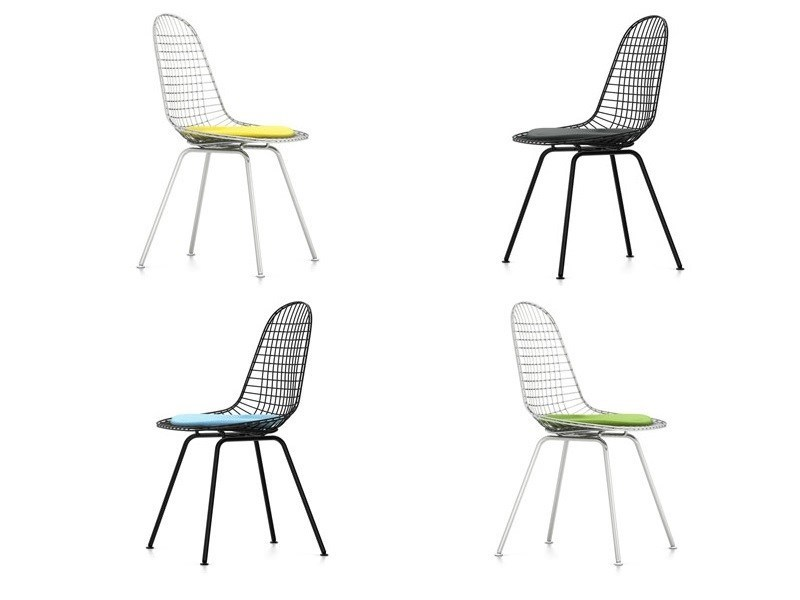 Metal chair with integrated cushion DKX-5 by Vitra
