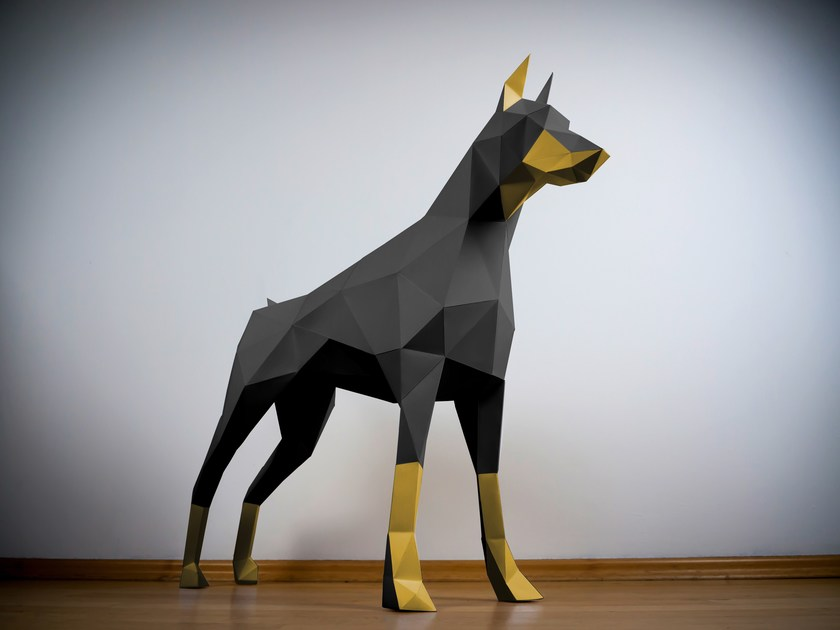 Paper sculpture DOBERMAN by Papertrophy