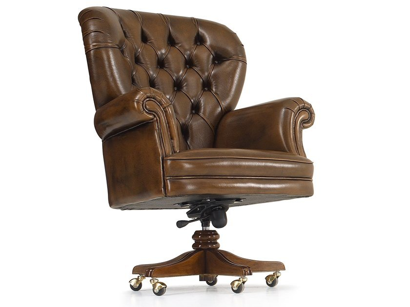 Tufted leather armchair with 5-spoke base DOLCEVITA | Armchair with 5-spoke base by A.R. Arredamenti