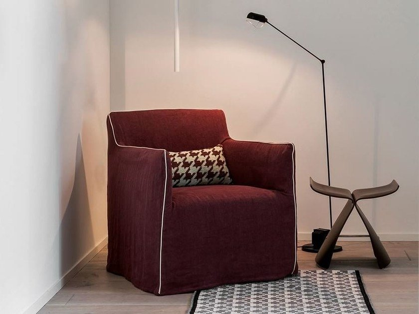 Upholstered fabric armchair with armrests DOLLY by Dall'Agnese