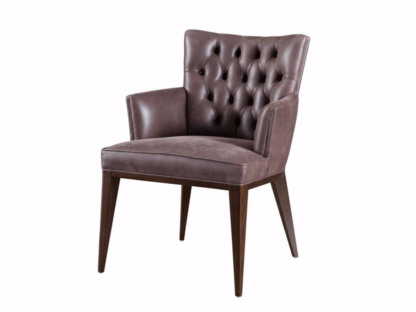 Tufted upholstered easy chair with armrests DOLLY by SELVA
