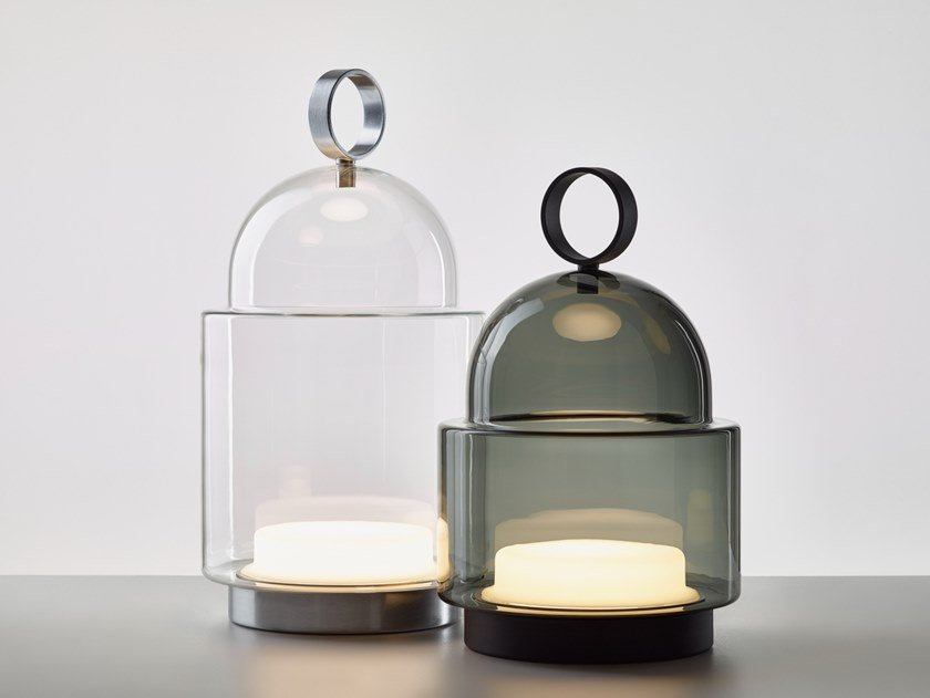 LED cordless blown glass table lamp DOME NOMAD by BROKIS