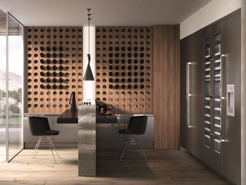 Kitchen with peninsula without handles DOMINA | Kitchen with peninsula by Aster Cucine S.p.A.