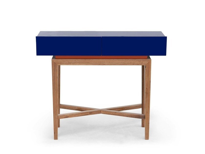 Lacquered rectangular walnut console table DOMINICAL by Moanne