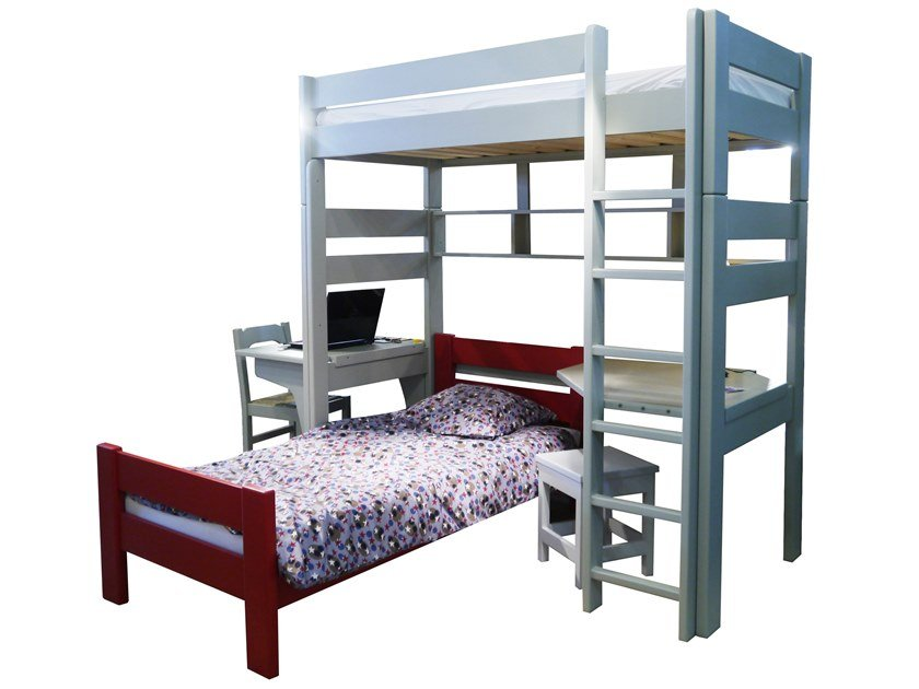 Loft wooden bed DOMINIQUE 209 | Loft bed by Mathy by Bols