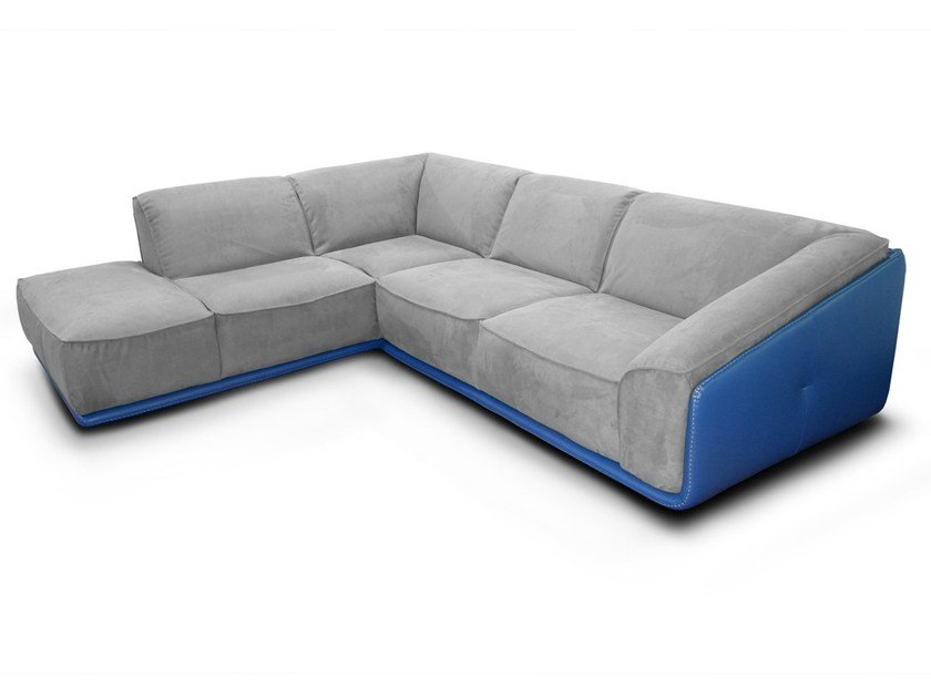 Corner Nabuk sofa with chaise longue DOMINIQUE by Nieri