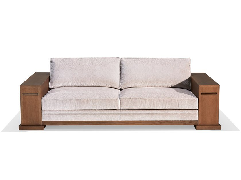 Tanned leather sofa with integrated magazine rack DOMINIQUE | Sofa by HUGUES CHEVALIER