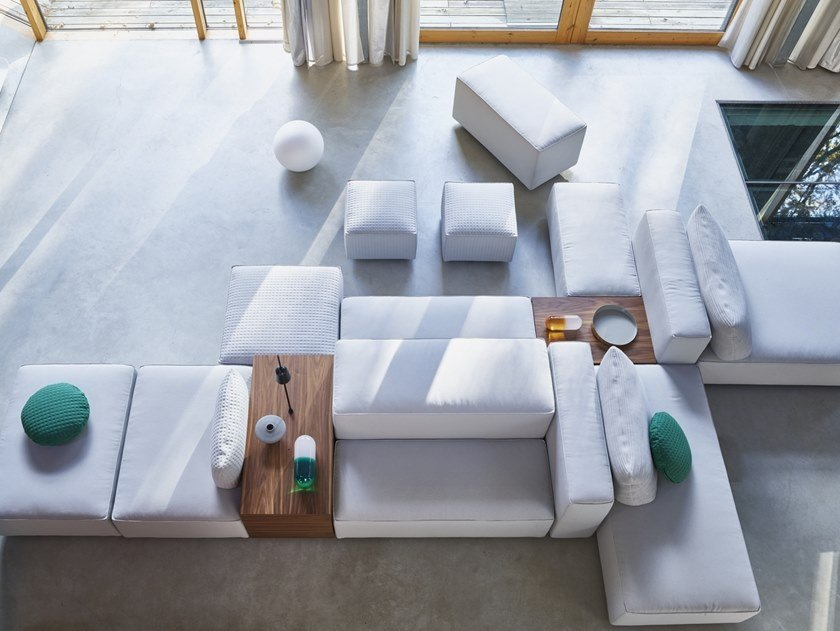 Modular fabric sofa DOMINO.18 by Montis