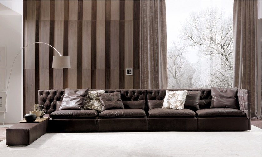 Tufted sectional leather sofa DOMINO CAPITONNE' | Leather sofa by Frigerio Salotti