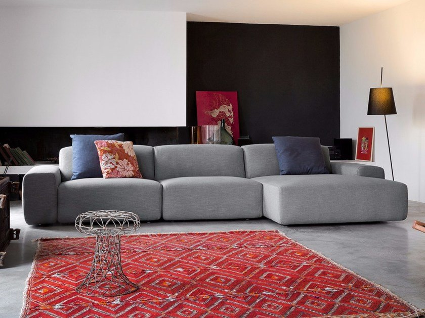 Sectional fabric sofa with removable cover DOMINO | Fabric sofa by Dall'Agnese