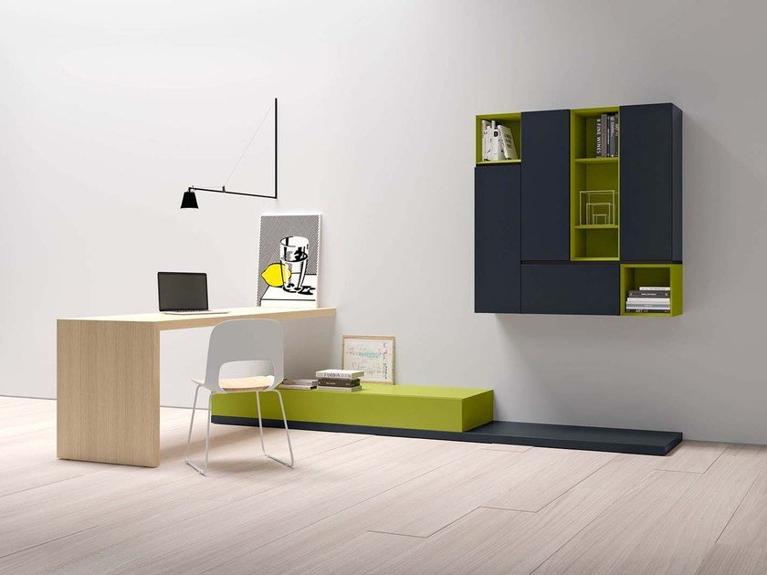 Rectangular writing desk with bookcase DOMINO P421 by PIANCA