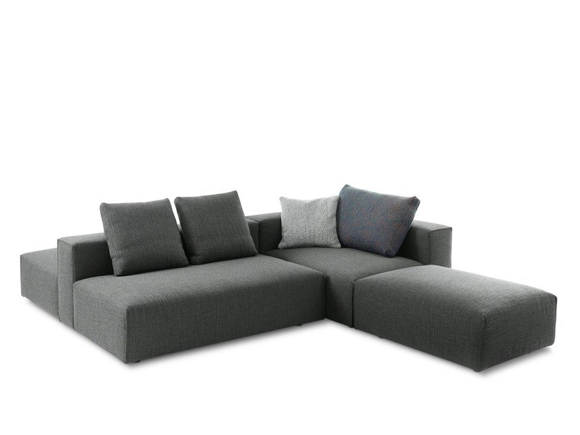 Sectional upholstered fabric sofa with chaise longue DOMINO by Montis