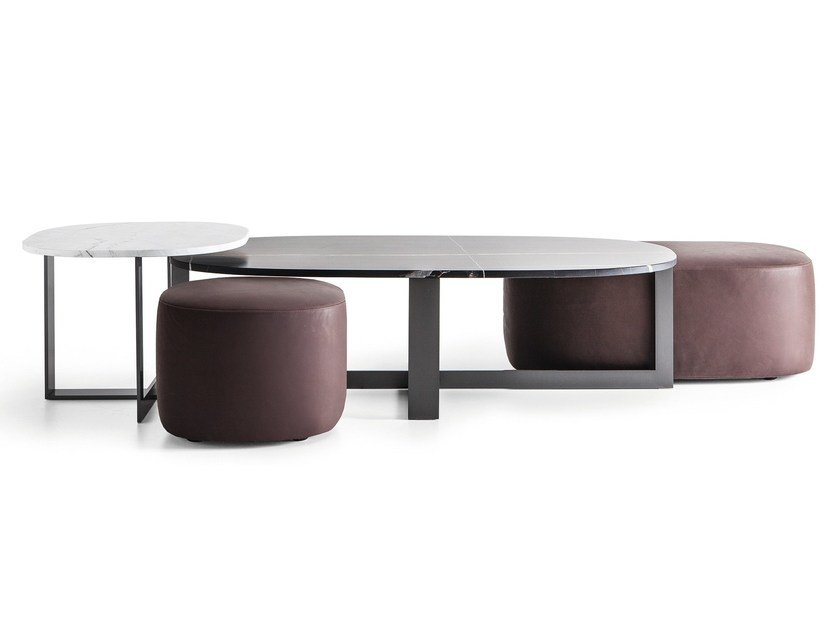 Upholstered leather pouf DOMINO NEXT | Pouf by Molteni&C