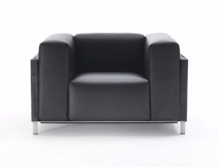 Leather armchair with armrests DOMINO by Riva 1920