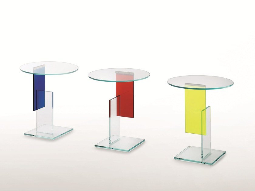 Round crystal coffee table DON GERRIT by Glas Italia