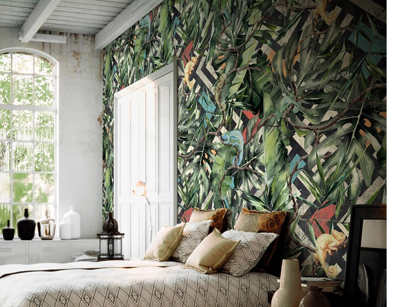 Fire retardant waterproof Tropical wallpaper DONATELLO by Tecnografica Italian Wallcoverings