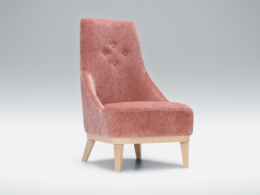Tufted fabric armchair with armrests DONNA by Sits