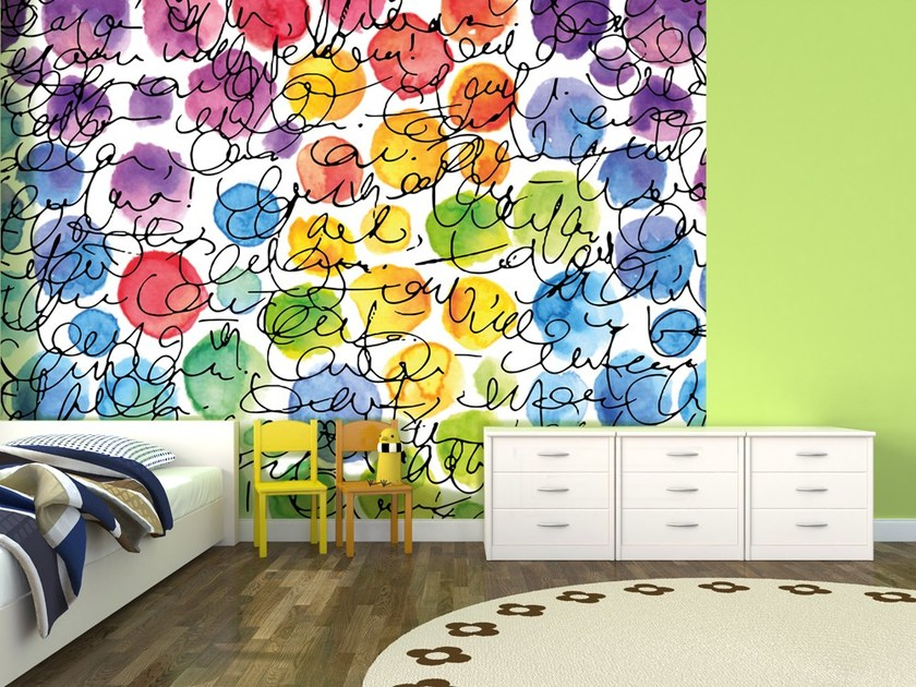 Motif nonwoven wallpaper DOODLE by MyCollection.it