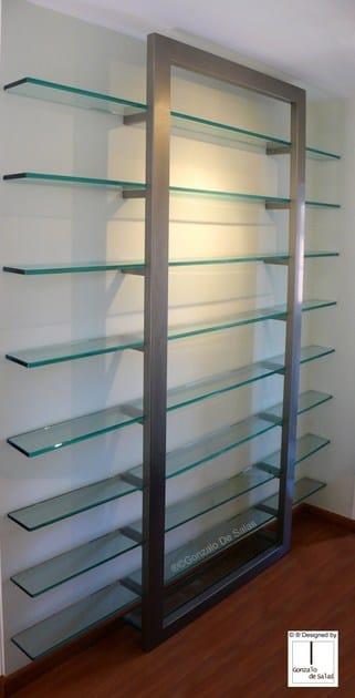 Wall-mounted metal bookcase DOOR by Gonzalo De Salas