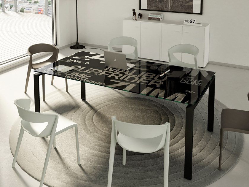 Rectangular glass office desk DORIA POP by CUF Milano
