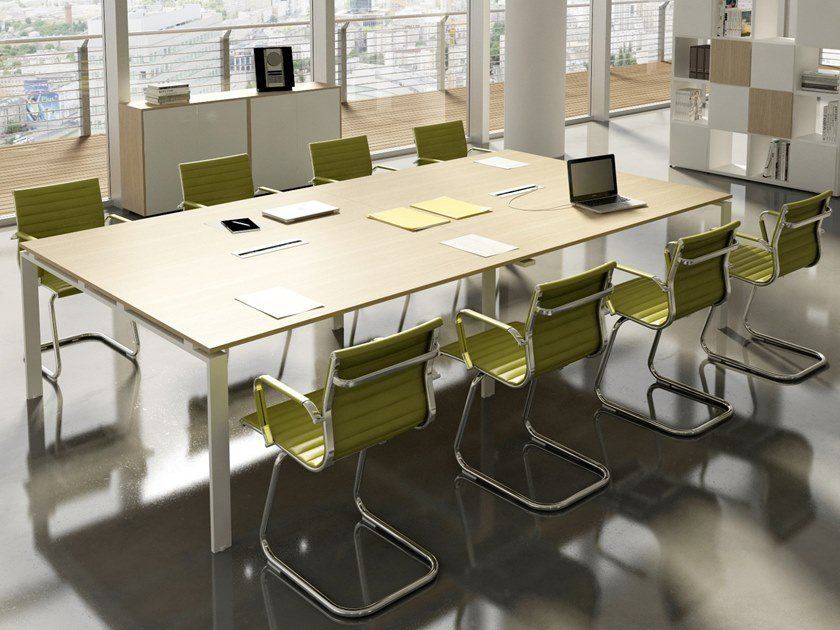 Rectangular meeting table with cable management DORIA | Rectangular meeting table by CUF Milano