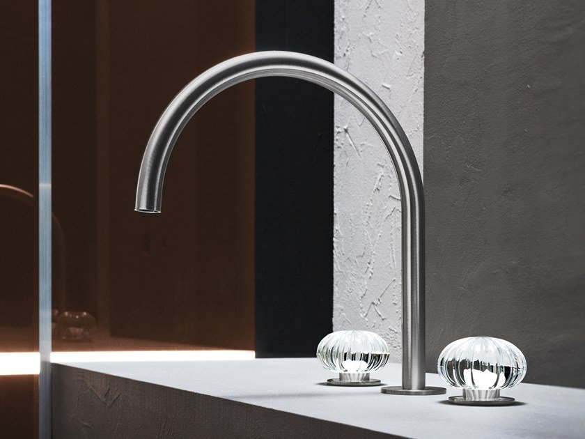 3 hole countertop stainless steel washbasin tap without waste DORIN by Radomonte