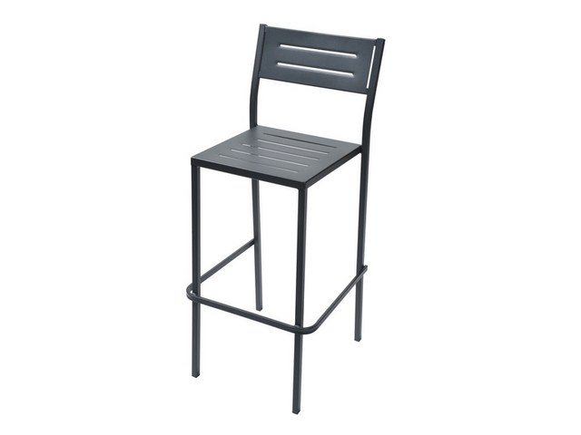 Stackable galvanized steel garden stool with back DORIO75 by RD Italia