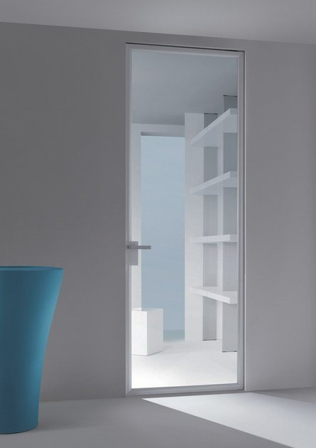 Glass and aluminium pivot door with concealed hinges DORSIA | Door by RES