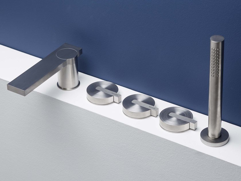 5 hole Recessed stainless steel bathtub set with diverter DOT316 | Deck mounted bathtub tap by RITMONIO