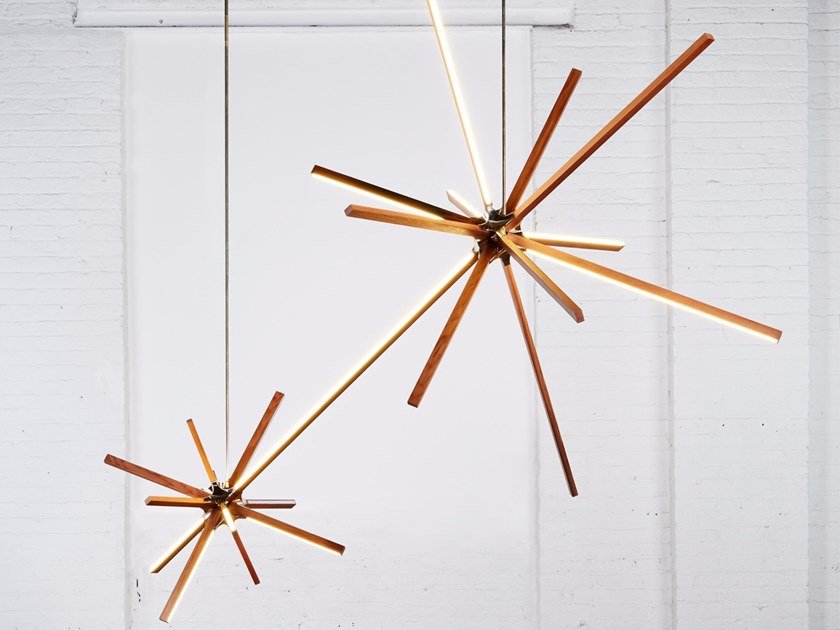 LED wooden pendant lamp DOUBLE BOOM by Stickbulb