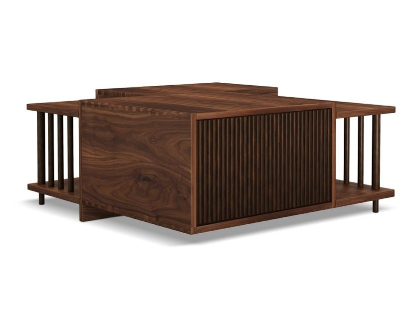 Low walnut coffee table with integrated magazine rack DOUGLAS by Wood Tailors Club