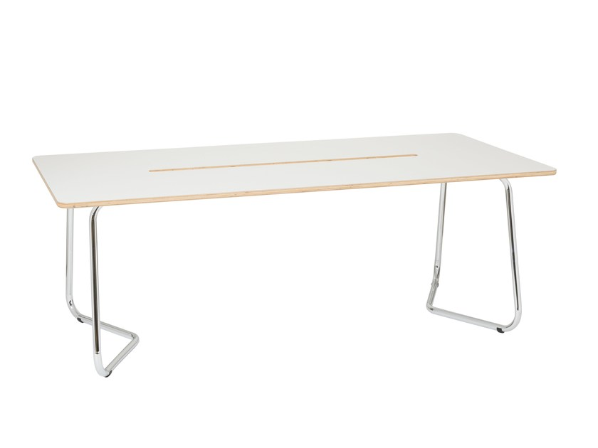 Rectangular laminate meeting table with cable management DOURO | Meeting table with cable management by ARCHYI. by Bi-silque
