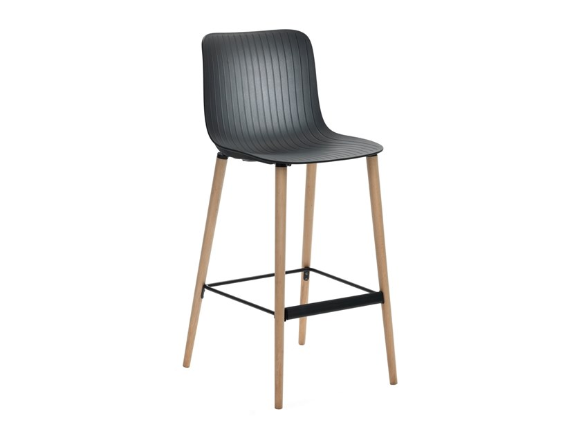 High polypropylene stool with back with footrest DRAGONFLY | High stool by Segis
