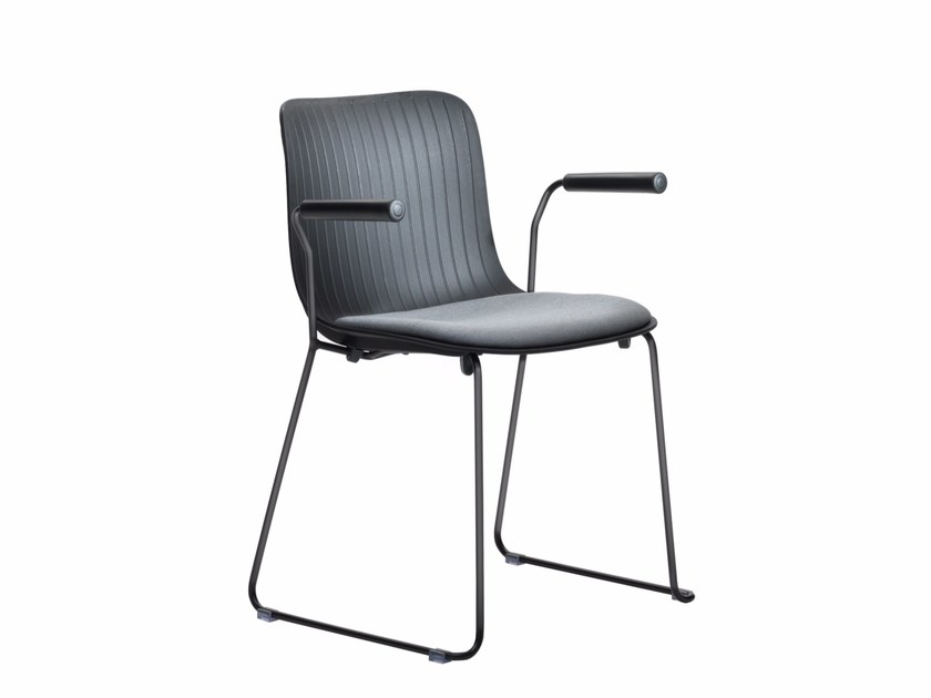 Sled base upholstered chair DRAGONFLY S0035 B by Segis