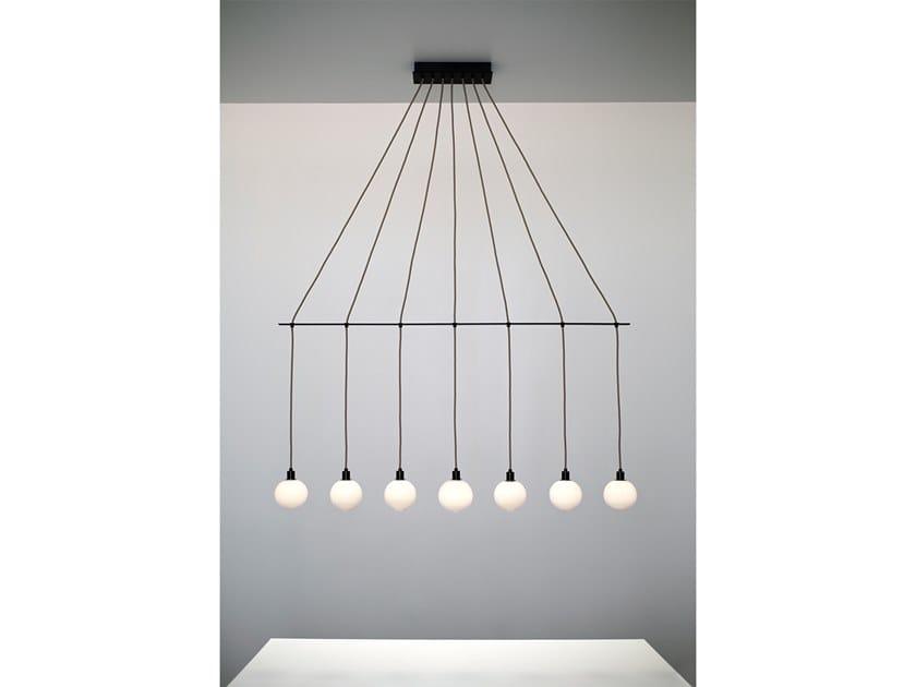 Sklo Sospensione Linear Vetro Drape Soffiato Lampada A In 7 Chandelier nN0wX8ZOPk