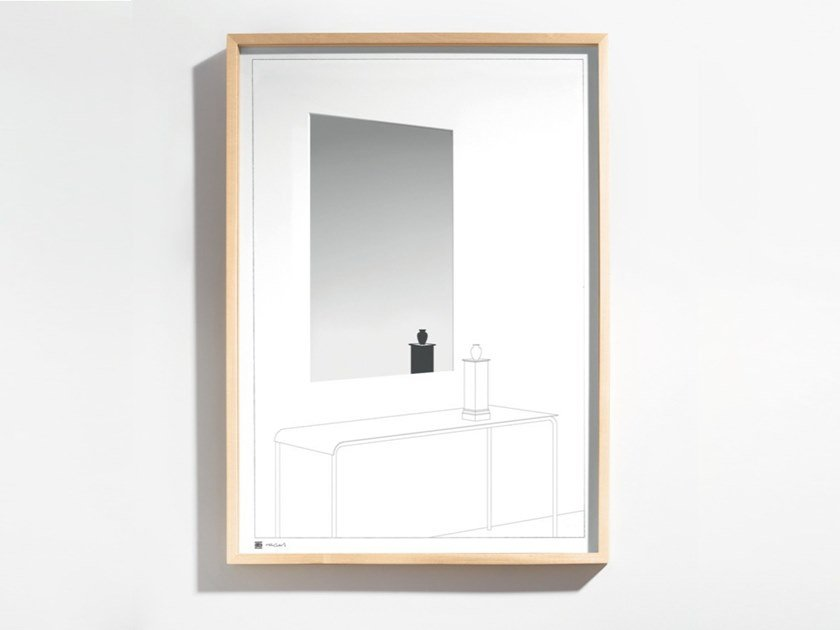 Rectangular framed wall-mounted wood and glass mirror DRAWING NO. 13 by Danese Milano