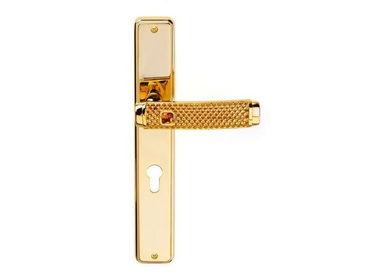 Brass door handle on back plate with lock DREAM JEWELLERY   Door handle on back plate by Pasini