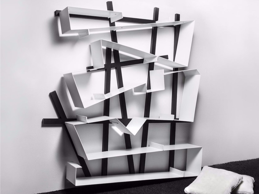 Open lacquered aluminium bookcase DREAM by Esedra